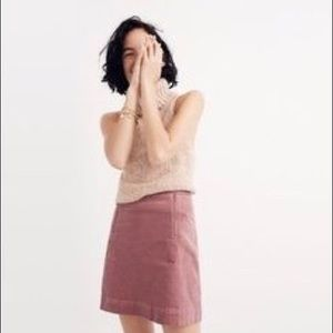 Madewell Uptown Velveteen Mini Skirt Pink